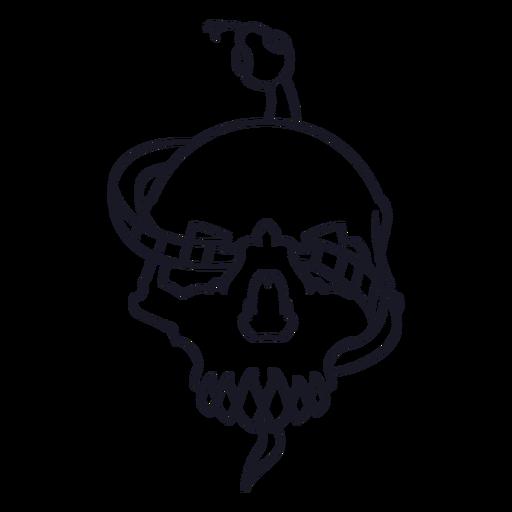 Skull with snake stroke Transparent PNG