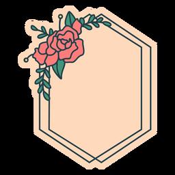 Marco floral hexagonal aplastado