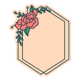 Quadro floral de hexágono esmagado