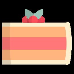 Pastel de fresa plano