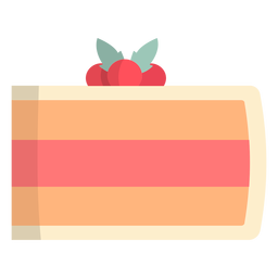 Trozo de pastel de fresa plano