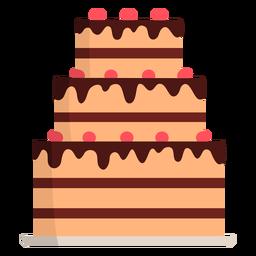 Dreischichtiger Kuchen flach