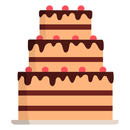 Three layered cake flat