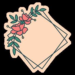 Marco floral cuadrado inclinado
