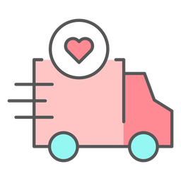 Truck with heart color icon