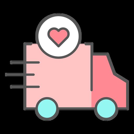 Caminhão com ícone de cor de coração