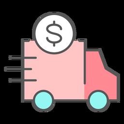 Caminhão com ícone de cor do dinheiro