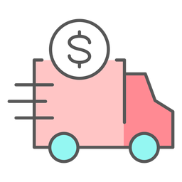 Truck with money color icon