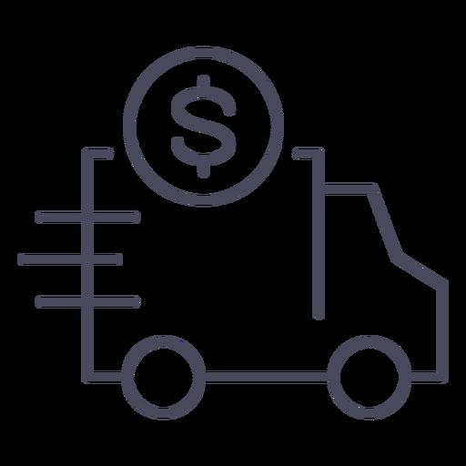 Caminhão com ícone de dinheiro