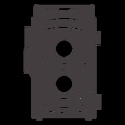 Icono de cámara vintage de dos lentes negro