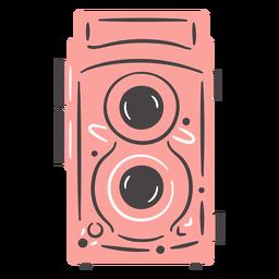 Dibujado a mano cámara vintage dos lentes