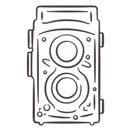 Ícone de traçado de câmera vintage de duas lentes