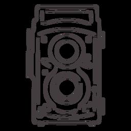 Icono de trazo de cámara vintage de dos lentes