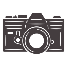 Icono de cámara analógica vintage negro