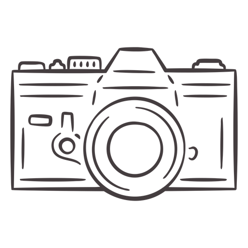 Vintage analogue camera stroke icon Transparent PNG