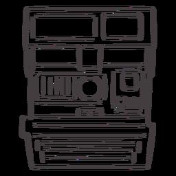Icono de trazo de cámara polaroid vintage