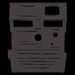 Icono de cámara polaroid vintage negro