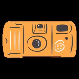 Mão de câmera fotográfica vintage desenhada