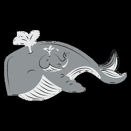 Dibujado a mano ballena y su hijo