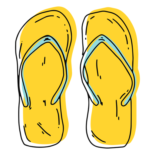 Chancletas amarillas trazo Transparent PNG