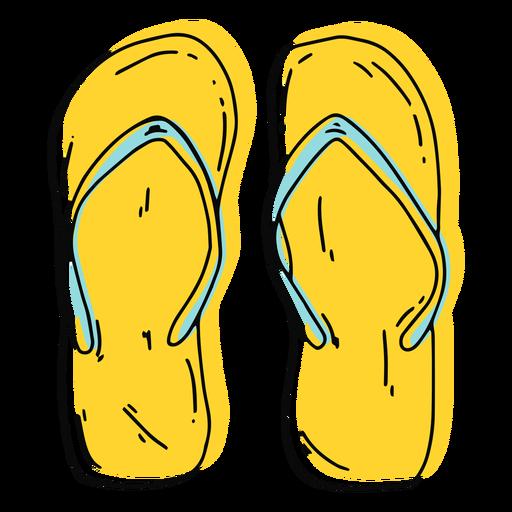 Yellow flip flops stroke