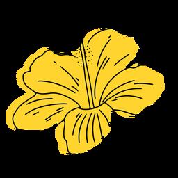 Gelbe hawaiianische Blumenhand gezeichnet