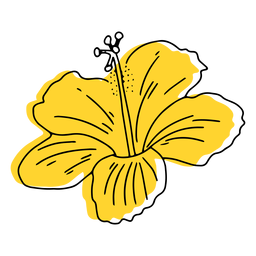 Mão de flor havaiana amarela desenhada