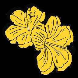 Mão de flores havaianas amarelas desenhada