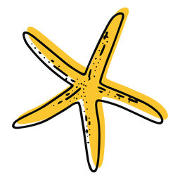 Trazo de estrella de mar delgada amarilla