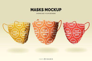Conjunto de maquete de máscara médica