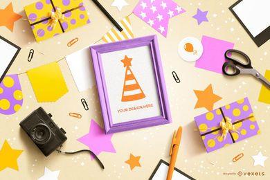 Maquete de composição de elementos de festa de aniversário