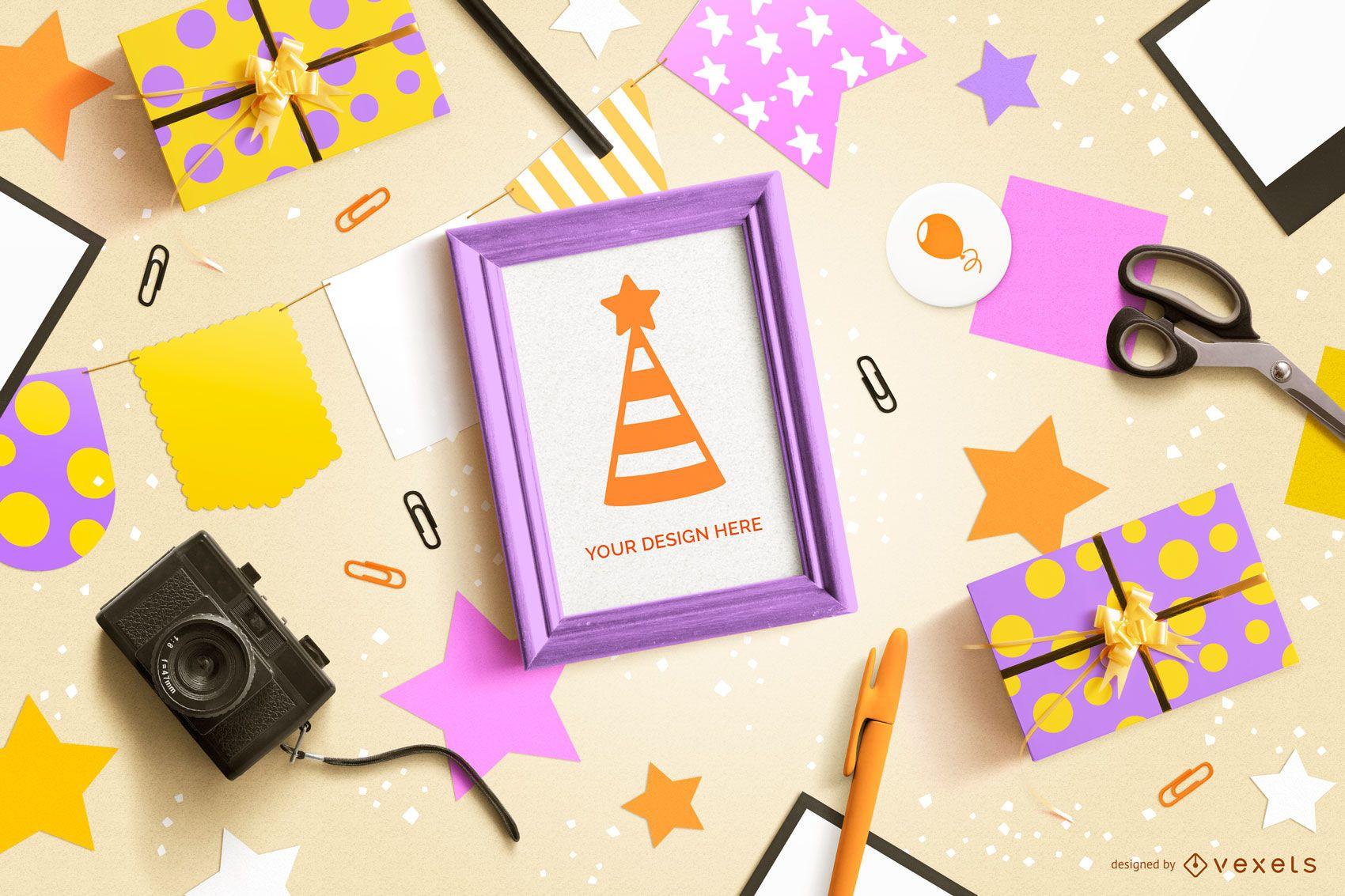 Maqueta de composición de elementos de fiesta de cumpleaños