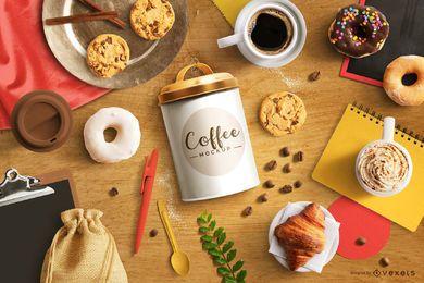 Maqueta de composición de elementos de alimentos de café