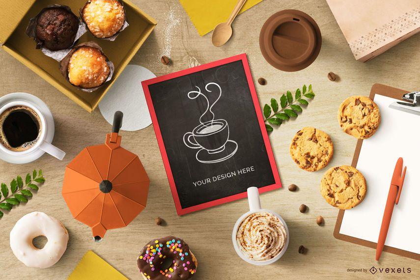 Maqueta de pizarra de café y panadería