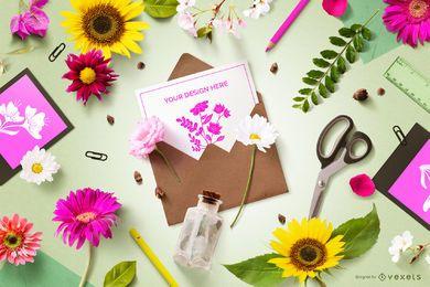 Maquete de composição de convite floral