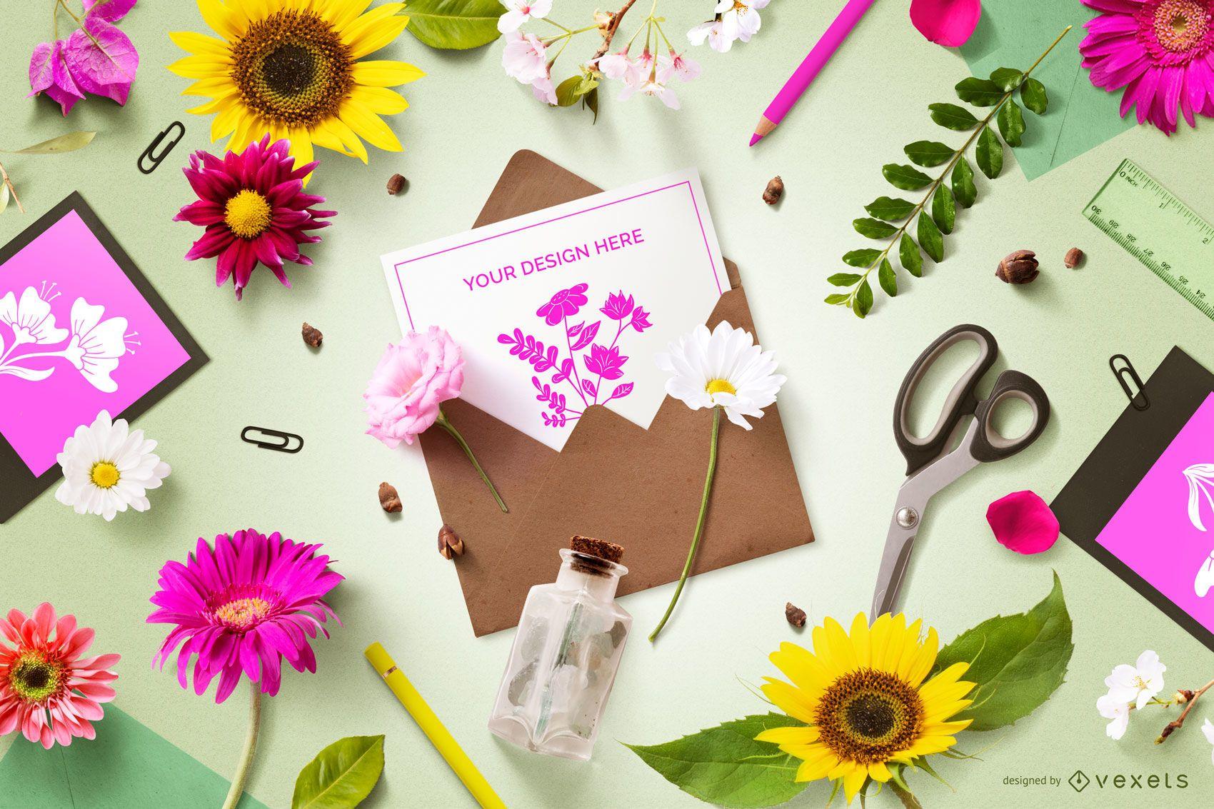 Floral Invitation Composition Mockup
