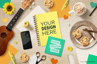 Maquete de capa de caderno de estilo de vida música