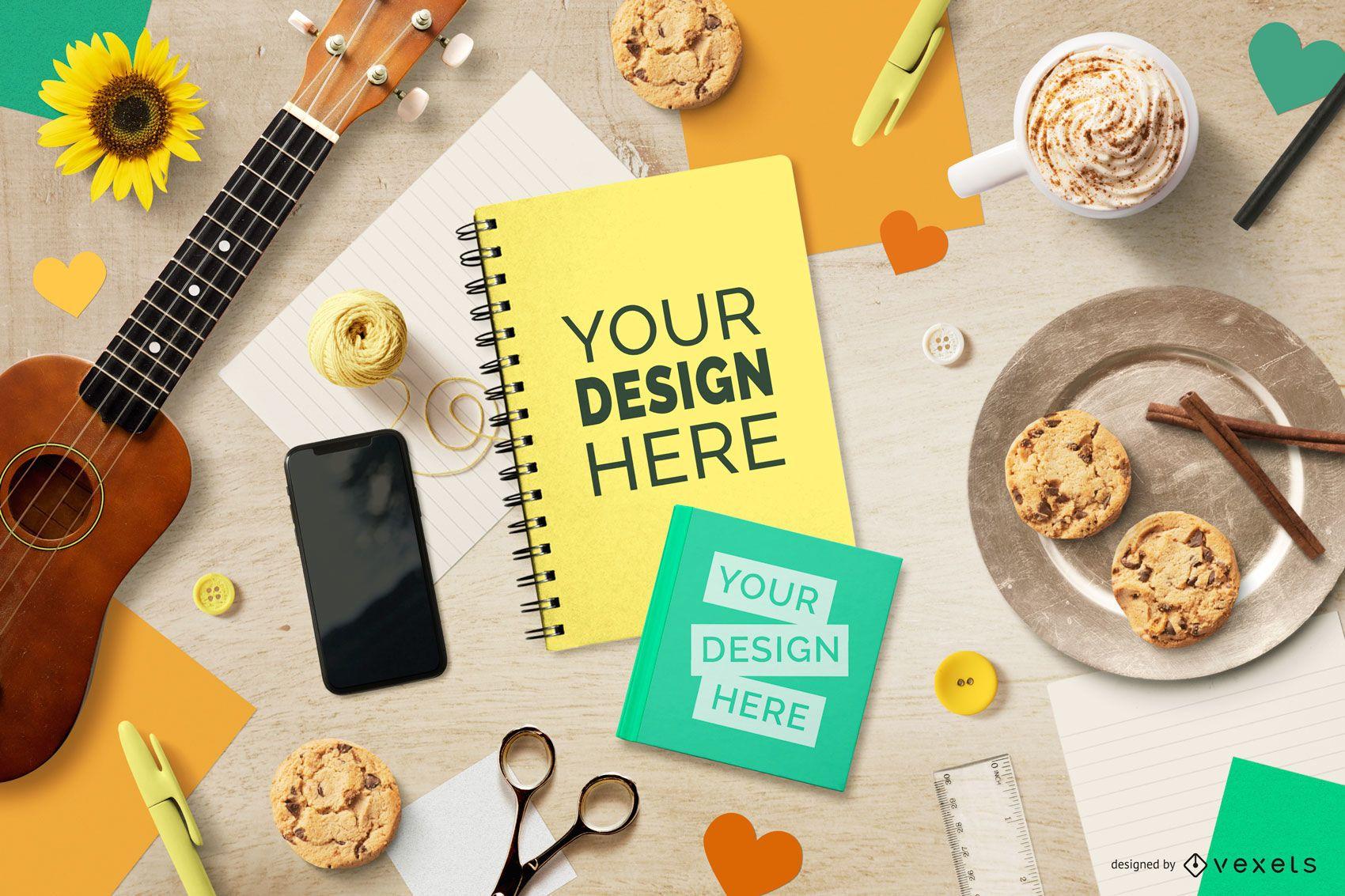 Maqueta de portada de cuaderno de estilo de vida musical