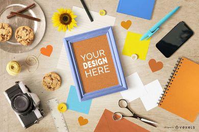Maqueta de marco de estilo de vida creativo genérico