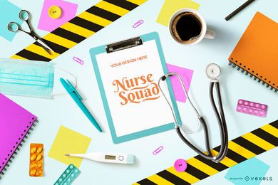 Colorful Nursery Composition Clipboard Mockup