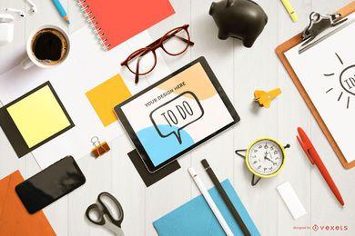 Maquete de composição de tablet criativo
