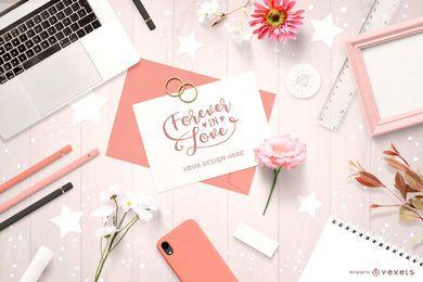 Maqueta de composición de invitación de boda