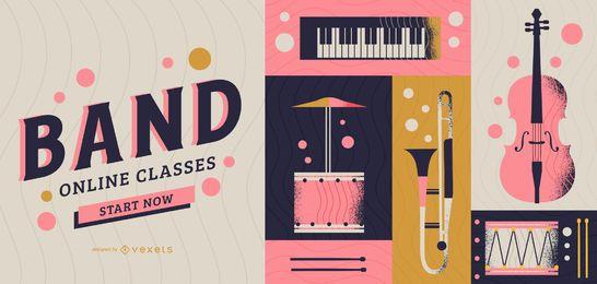 Diseño de portada de clases online de banda