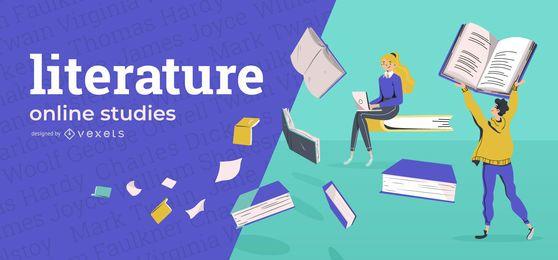 Portada de educación en línea de literatura