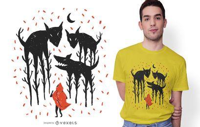 Design de camiseta com ilustração de capuz vermelho