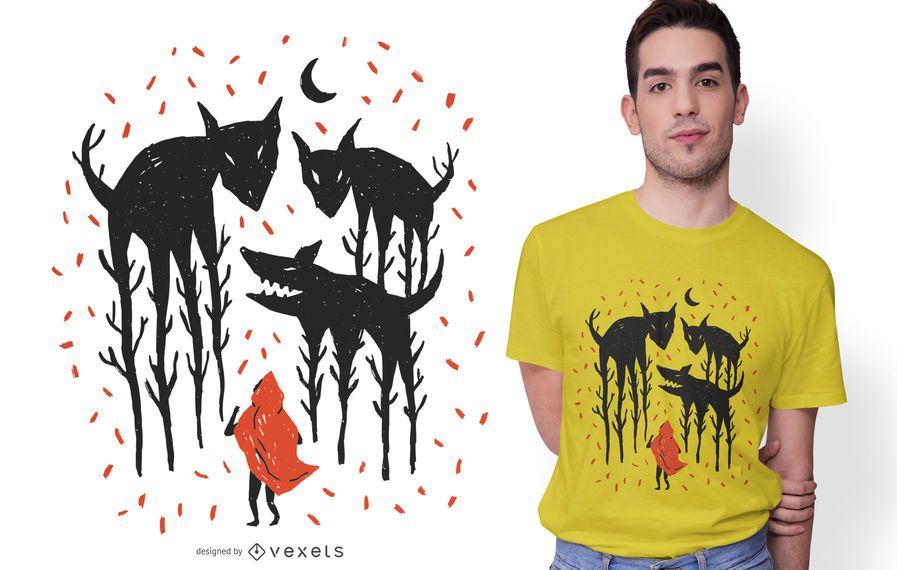 Diseño de camiseta de ilustración de Caperucita Roja