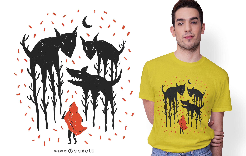 Diseño de camiseta con ilustración de Caperucita Roja