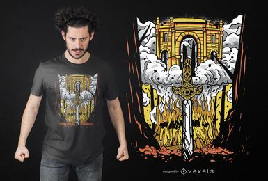 Diseño de camiseta funeraria vikinga