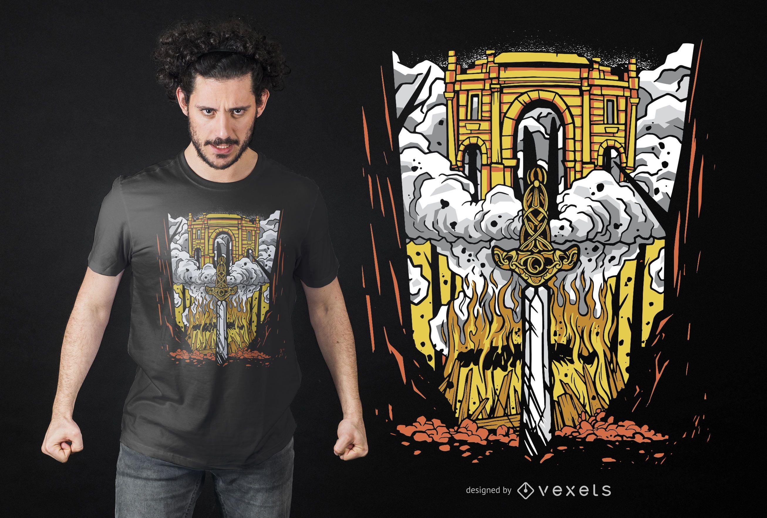 Dise?o de camiseta Viking Funeral