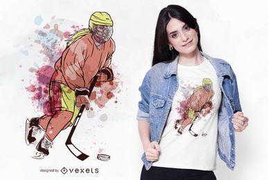 Design de t-shirt de aquarela de jogador de hóquei no gelo